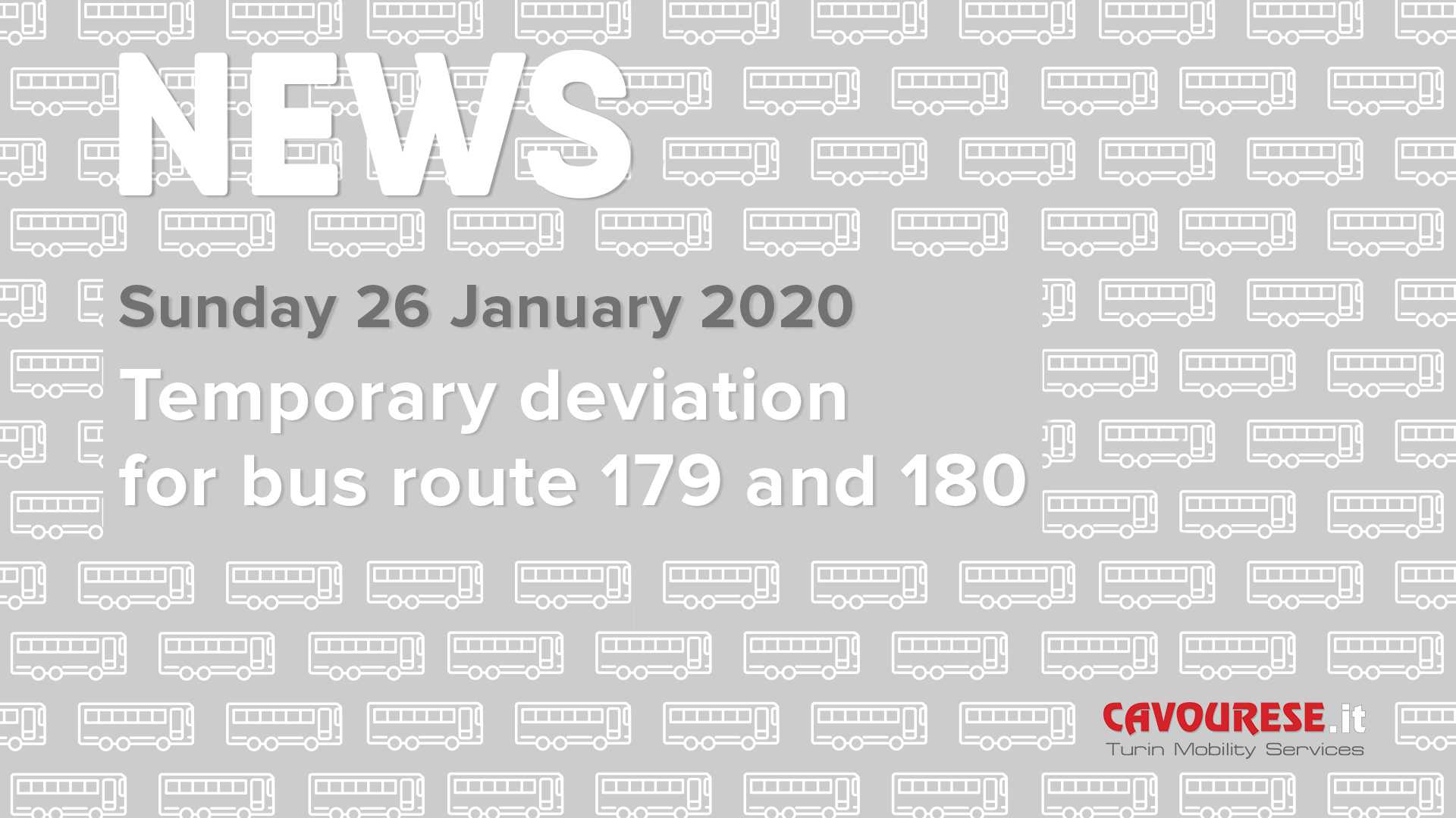 temporary deviation 179 and 180 deviation for sunday, january 26 2020